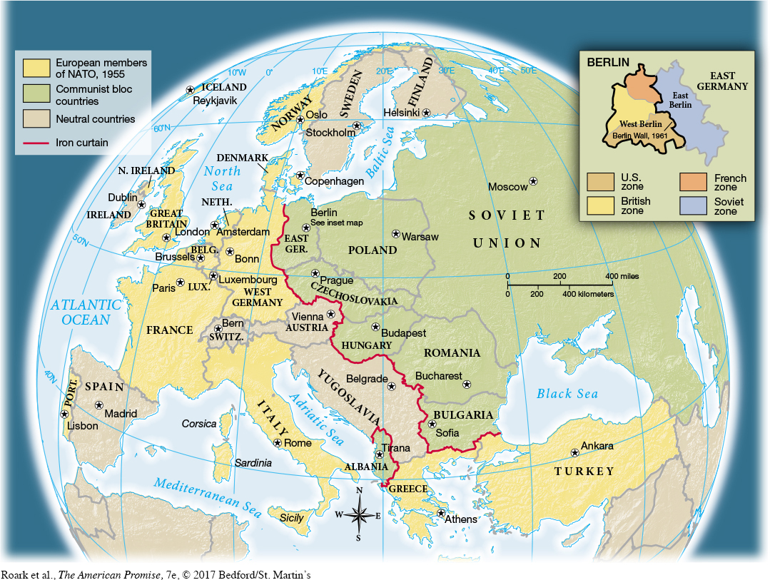 Map 261 map activitymap 261 the division of europe after world war ii the iron curtain a term coined by winston churchill to refer to the soviet grip on eastern gumiabroncs Choice Image